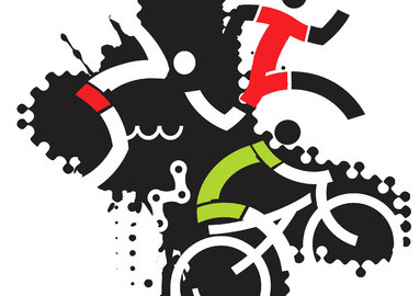 40501481 - three icons symbolizing triathlon on the grunge background .